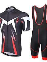 cheap -Men's Short Sleeve Cycling Jersey with Bib Shorts Elastane Black Bike Sports Clothing Apparel