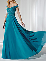 cheap -A-Line Glittering Sexy Engagement Formal Evening Dress Off Shoulder Sleeveless Sweep / Brush Train Chiffon with Sequin 2021