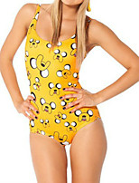 cheap -Women's New Classic Sweet Monokini Swimsuit Letter Open Back Slim Print Bodysuit Normal Strap Swimwear Bathing Suits Yellow / One Piece
