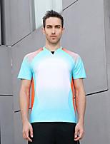 cheap -Men's Tennis Badminton Table Tennis Tee Tshirt Short Sleeve Breathable Quick Dry Moisture Wicking Sports Outdoor Autumn / Fall Spring Summer Light Blue / High Elasticity