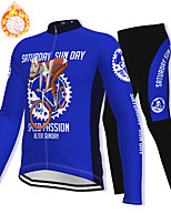 cheap -21Grams Men's Long Sleeve Cycling Jacket with Pants Winter Fleece Spandex Black / Yellow Blue Orange Bike Fleece Lining Warm Sports Graphic Mountain Bike MTB Road Bike Cycling Clothing Apparel