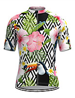 cheap -Men's Short Sleeve Cycling Jersey Green Floral Botanical Bike Top Mountain Bike MTB Road Bike Cycling Breathable Sports Clothing Apparel / Stretchy / Athletic
