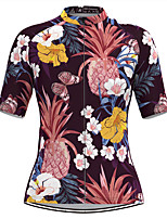 cheap -Women's Short Sleeve Cycling Jersey Purple Tropical Flowers Fruit Bike Top Mountain Bike MTB Road Bike Cycling Breathable Quick Dry Sports Clothing Apparel / Stretchy / Athleisure