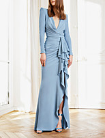 cheap -Sheath / Column Minimalist Elegant Wedding Guest Formal Evening Dress V Neck Long Sleeve Floor Length Spandex with Ruffles 2020