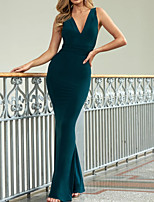 cheap -Mermaid / Trumpet Beautiful Back Sexy Wedding Guest Formal Evening Dress V Neck Sleeveless Floor Length Stretch Satin with Sleek 2021