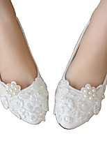 cheap -Women's Wedding Shoes Flat Heel Round Toe Wedding Walking Shoes PU Pearl Lace Floral White