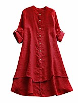 cheap -Womens Linen Shirts Tops Loose Plus Size Long Sleeve Ladies Casual Thin Solid Color Button Pullover Blouse Tunic (Red,S)