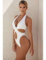 cheap -Women's New Lady Modern One Piece Swimsuit Solid Color Open Back Cut Out Print Halter Padded Normal Strap Swimwear Bathing Suits White Black / Bikini / Tattoo