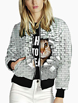 cheap -Women's 3D Print Print Active Spring &  Fall Jacket Regular Daily Long Sleeve Polyster Coat Tops White