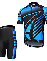cheap -Men's Short Sleeve Cycling Bib Shorts Elastane Black / Blue Bike Sports Clothing Apparel