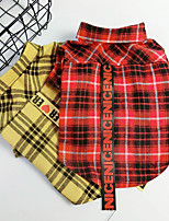 cheap -Dog Cat Shirt / T-Shirt Plaid Basic Classic Casual / Daily Dog Clothes Puppy Clothes Dog Outfits Breathable Yellow Red Costume for Girl and Boy Dog Cotton S M L XL XXL