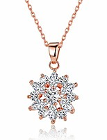 cheap -18k rose gold plated cubic zirconia snowflake pendant necklace for women girls cz jewelry fashion necklaces 3 style rose gold & white cz
