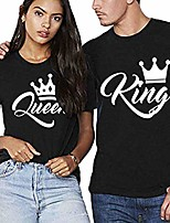 cheap -Women's King Queen Matching Couple T-Shirts Set Short Sleeve Tops Tees Valentines Boyfriend Girlfriend Husband Wife Love Cool Funny Gift Present Summer Men Women Shirts Pack of 2 Black
