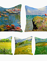 cheap -Cushion Cover 5PC Linen Soft Decorative Square Throw Pillow Cover Cushion Case Pillowcase for Sofa Bedroom 45 x 45 cm (18 x 18 Inch) Superior Quality Machine Washable Landscape