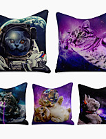 cheap -Cushion Cover 5PC Linen Soft Decorative Square Throw Pillow Cover Cushion Case Pillowcase for Sofa Bedroom 45 x 45 cm (18 x 18 Inch) Superior Quality Machine Washable Animal Cat Space Soaring