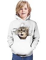 cheap -Kids Boys' Hoodie & Sweatshirt Cat Graphic 3D Animal Print Long Sleeve Active White