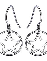 cheap -Silver Round and Star-shaped Drop Hook Earrings for Womens,Gift jewelry boxed (White)