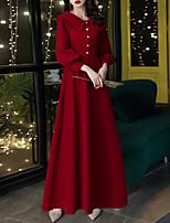 cheap -A-Line Minimalist Elegant Engagement Formal Evening Dress Shirt Collar Long Sleeve Floor Length Stretch Fabric with Beading 2021