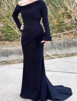 cheap -Mermaid / Trumpet Minimalist Elegant Wedding Guest Formal Evening Dress One Shoulder Long Sleeve Sweep / Brush Train Satin with Draping 2020