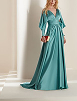 cheap -A-Line Beautiful Back Sexy Engagement Formal Evening Dress V Neck Long Sleeve Court Train Charmeuse with Pleats 2021