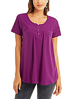 cheap -Women Summer Tops V Neck Short Sleeve Casual Henley T-Shirt Blouse Purple Large