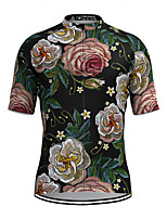 cheap -Men's Short Sleeve Cycling Jersey Black Floral Botanical Bike Top Mountain Bike MTB Road Bike Cycling Breathable Sports Clothing Apparel / Stretchy / Athletic