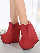 cheap -Women's Boots Wedge Heel Round Toe Booties Ankle Boots Roman Shoes Daily Nubuck Solid Colored Black Red / Booties / Ankle Boots