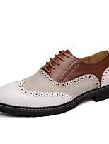 cheap -Men's Oxfords Business British Daily Office & Career Walking Shoes PU Breathable Non-slipping Wear Proof Black Brown Color Block Spring Fall
