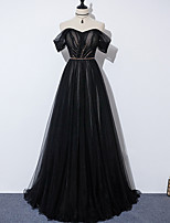 cheap -A-Line Glittering Elegant Engagement Formal Evening Dress Off Shoulder Sleeveless Sweep / Brush Train Tulle with Pleats Beading 2021