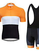cheap -Men's Short Sleeve Cycling Jersey with Bib Shorts Elastane Orange+White Bike Sports Clothing Apparel