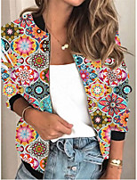 cheap -Women's Print Patchwork Active Spring &  Fall Jacket Regular Daily Long Sleeve Air Layer Fabric Coat Tops Red