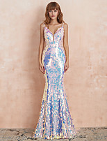 cheap -Mermaid / Trumpet Sparkle Sexy Party Wear Formal Evening Dress V Neck Sleeveless Sweep / Brush Train Spandex Sequined with Sequin 2020