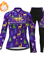 cheap -21Grams Women's Long Sleeve Cycling Jersey with Tights Winter Fleece Polyester Purple Red Blue Christmas Santa Claus Bike Clothing Suit Thermal Warm Fleece Lining Breathable 3D Pad Warm Sports Graphic