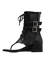 cheap -Women's Boots Wedge Heel Open Toe Booties Ankle Boots Classic Daily Mesh PU Solid Colored Black / Booties / Ankle Boots
