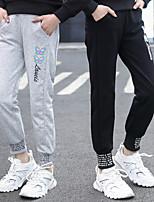 cheap -Kids Girls' Pants Black Letter Print Basic Black Light gray