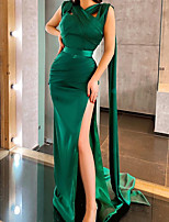 cheap -Mermaid / Trumpet Minimalist Sexy Engagement Formal Evening Dress V Neck Sleeveless Court Train Stretch Satin with Split 2020