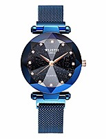 cheap -wlisth fashion analogue quartz ladies watches magnetic mesh band starry sky dial simulated diamond wrist watches c