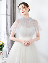 cheap -Sleeveless Shawls / Bridal Tulle Wedding / Party / Evening Shawl & Wrap / Women's Wrap With Faux Pearl / Lace