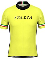 cheap -21Grams Men's Short Sleeve Cycling Jersey Yellow Bike Top Mountain Bike MTB Road Bike Cycling Breathable Sports Clothing Apparel / Stretchy / Athletic