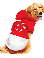 cheap -Dog Hoodie Sweatshirt Print Flag National Flag Fashion Cool Funny Casual / Daily Outdoor Dog Clothes Puppy Clothes Dog Outfits Breathable Red Costume for Girl and Boy Dog Polyster S M L XL