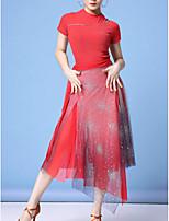 cheap -Latin Dance Skirts Beading Paillette Women's Performance Daily Wear Short Sleeve Nylon
