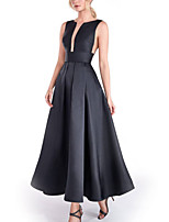 cheap -A-Line Minimalist Elegant Engagement Formal Evening Dress Jewel Neck Sleeveless Ankle Length Stretch Satin with Pleats 2020