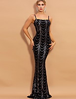 cheap -Mermaid / Trumpet Sexy bodycon Party Wear Formal Evening Dress Spaghetti Strap Sleeveless Sweep / Brush Train Sequined with Sequin 2020