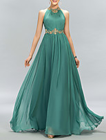 cheap -A-Line Minimalist Sparkle Wedding Guest Formal Evening Dress Halter Neck Sleeveless Floor Length Chiffon with Pleats Crystals 2020