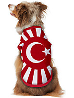 cheap -Dog Shirt / T-Shirt Vest Print Flag National Flag Fashion Cool Casual / Daily Outdoor Dog Clothes Puppy Clothes Dog Outfits Breathable Red Costume for Girl and Boy Dog Polyster S M L XL