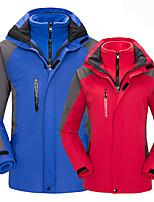 cheap -Men's Women's Hiking 3-in-1 Jackets Ski Jacket Winter Outdoor Waterproof Lightweight Windproof Breathable Winter Jacket Top Fleece Fishing Climbing Camping / Hiking / Caving Men's-Red Women-black