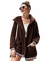 cheap -Women's Hooded Coats Fleece Fuzzy Jackets,Winter Casual Sherpa Shearling Loose Warm Jacket Outwear with Pockets (Brown,Large)