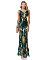 cheap -Mermaid / Trumpet Sparkle Sexy Party Wear Formal Evening Dress V Neck Sleeveless Floor Length Sequined with Sequin 2020