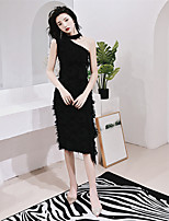 cheap -Sheath / Column Little Black Dress Sexy Wedding Guest Cocktail Party Dress One Shoulder Sleeveless Knee Length Spandex with Feather 2021