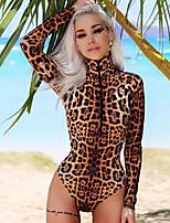 cheap -Women's Layered Hole Sexy Lingerie Nightwear Leopard Bra Brown XS S M